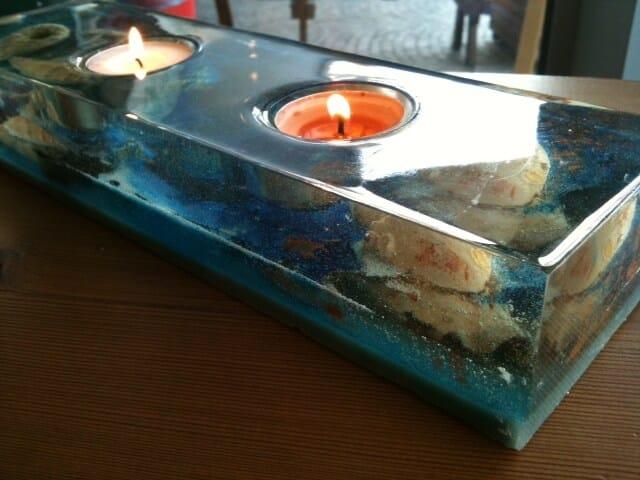 porta candele in resina